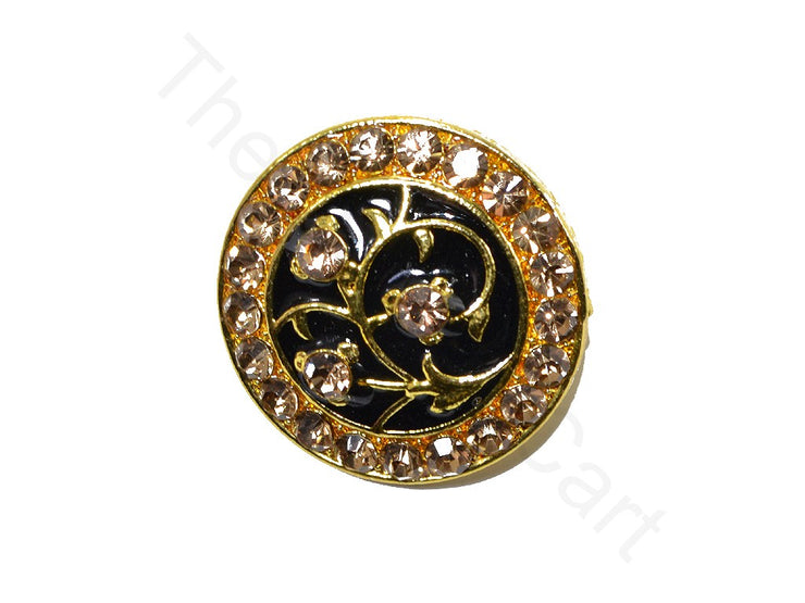 Black Bronze Studs Flower Design Kundan Buttons | The Design Cart (1763877584930)
