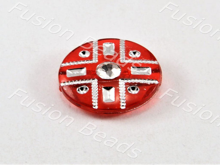 Red Crystal Buttons With Glass Stone (369915002914)