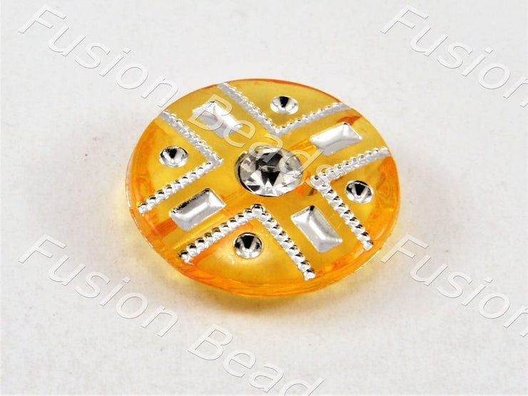 Light Orange Crystal Buttons With Glass Stone (369915232290)