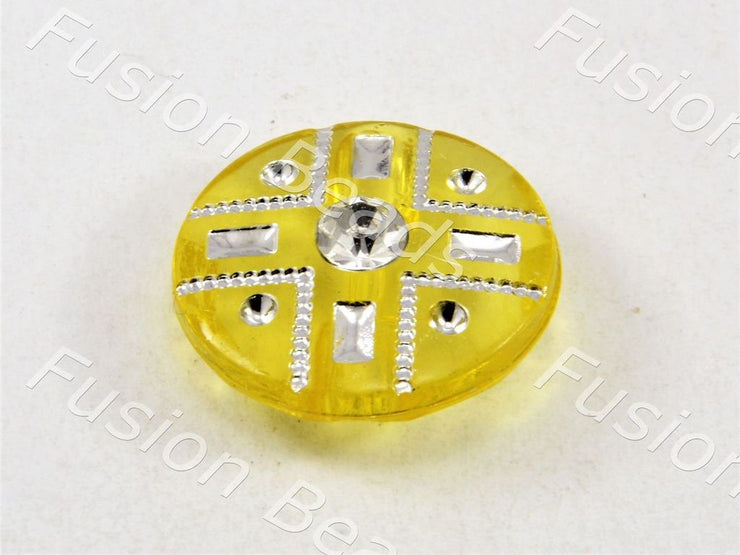 Yellow Crystal Buttons With Glass Stone (369915265058)