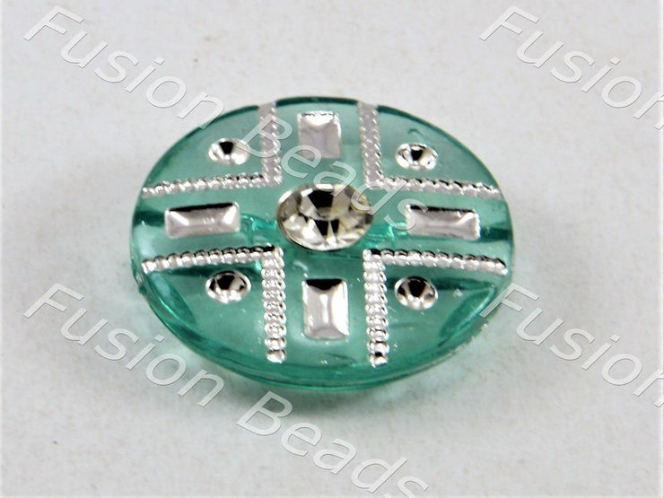 Teal Crystal Buttons With Glass Stone (369915396130)
