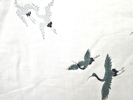 White Green Birds Rayon Modal Fabric