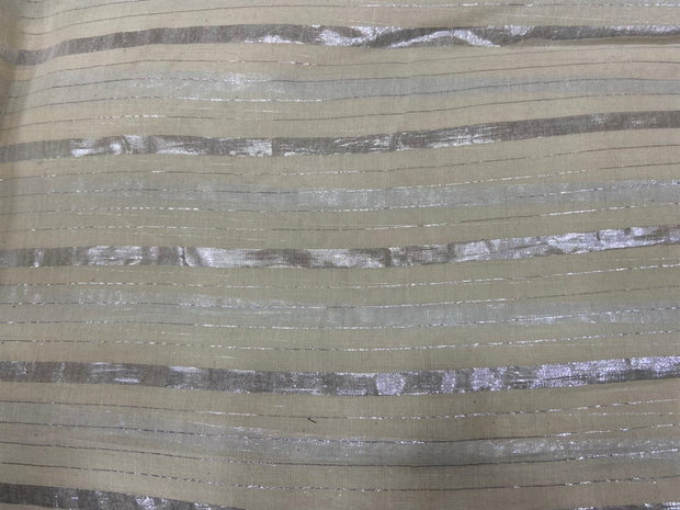 Off White Silver Broad 3 Lurex Stripes Dyeable Cotton Voile Fabric | The Design Cart