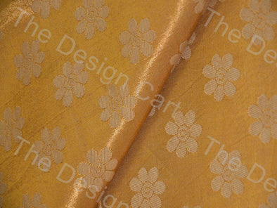 Golden Flower Print Mashru Silk Fabric