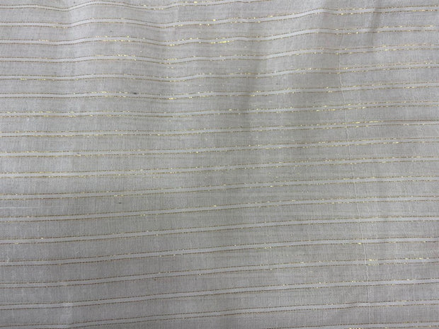 White Golden Designer 2 Lurex Stripes Dyeable Cotton Voile Fabric | The Design Cart