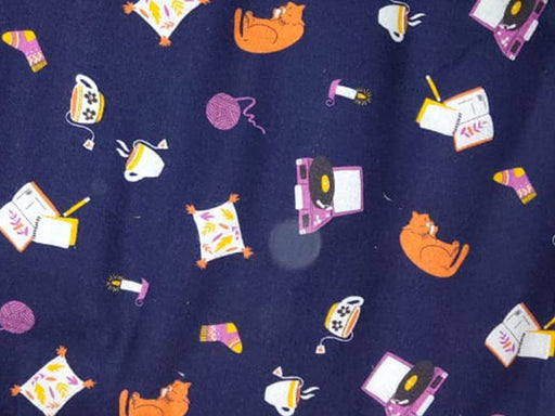 Navy Blue Cats Flannel Cotton Fabric