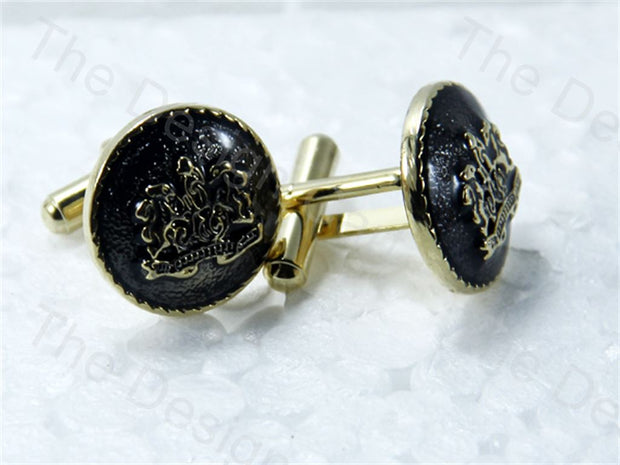 Round Logo Design Golden Black Metallic Cufflinks (1364872626210)