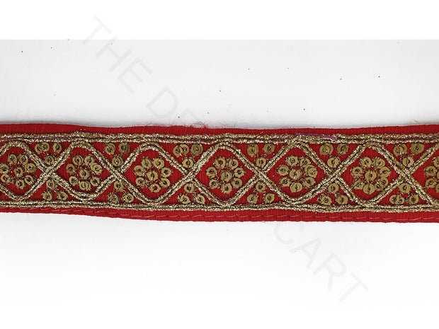 Red Zari Sequins Work Embroidered Border | The Design Cart
