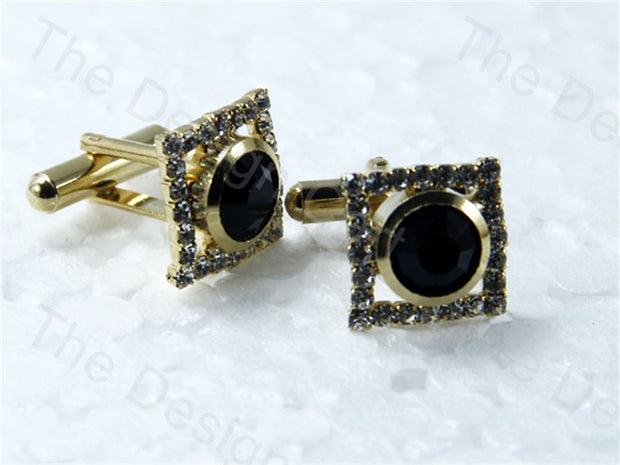 Square Flat Round Stone Design Golden Black Metallic Cufflinks (1364872757282)