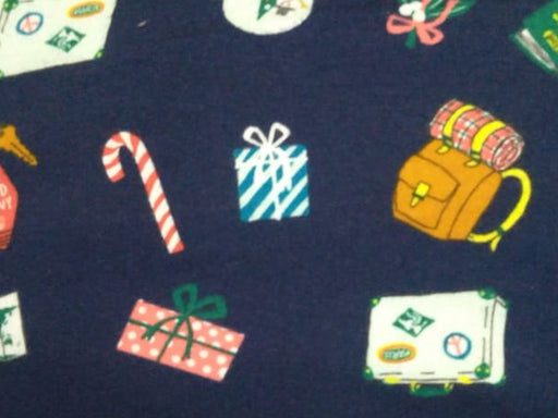 Navy Blue Gifts Flannel Cotton Fabric