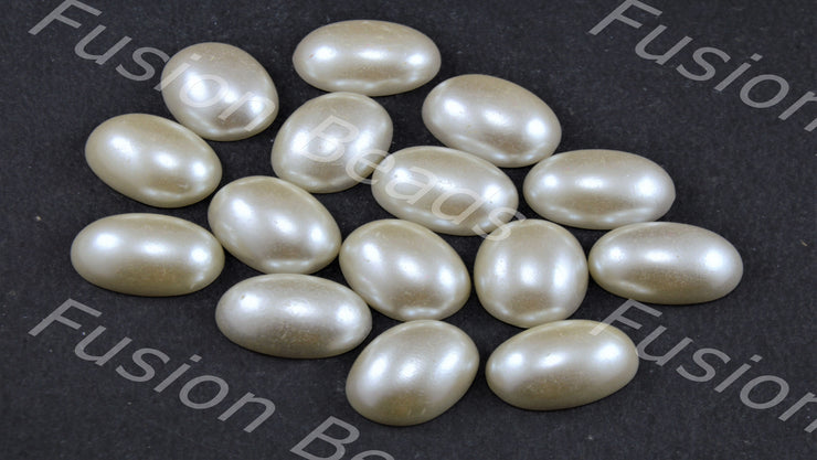 Cream Opaque Oval Shaped Plastic Stone Pearl - Without hole (11734581843)