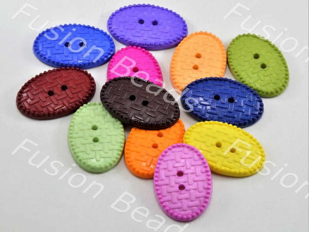 Assorted Pack Of Mesh Design Oval Polyster Buttons