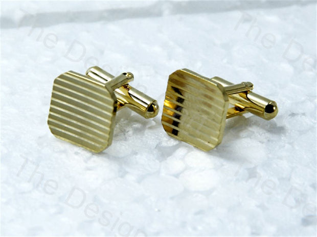 Square Lined Design Golden Metallic Cufflinks (1364872921122)