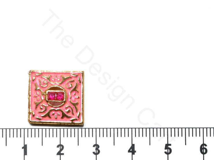 Pink Square Shape Kundan Buttons | The Design Cart (1763878174754)