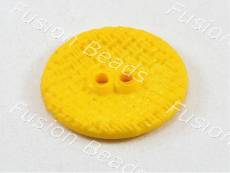 Yellow Circular Mesh Polyster Button