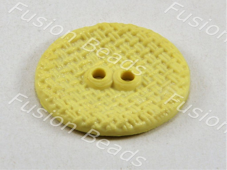 Pale Yellow Circular Mesh Polyster Button