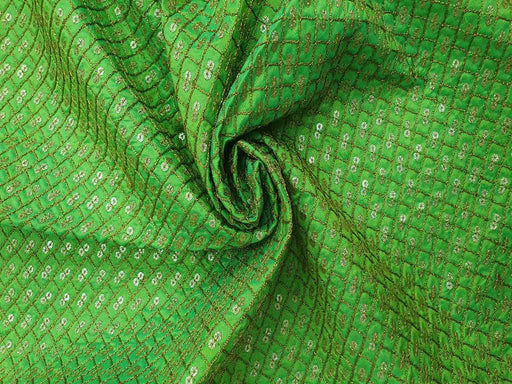 Green Geometric Embroidered Banarasi Silk Fabric