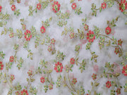 Light Pink Floral Embroidered Organza Fabric | The Design Cart