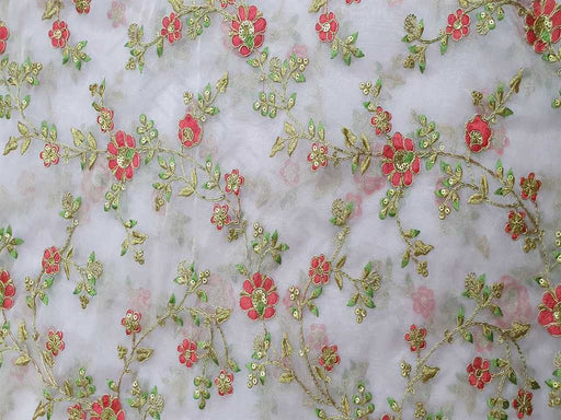 Light Pink Floral Embroidered Organza Fabric