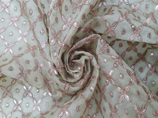 Pista Green Embroidered Organza Fabric