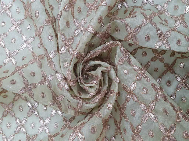 Pista Green Embroidered Organza Fabric | The Design Cart