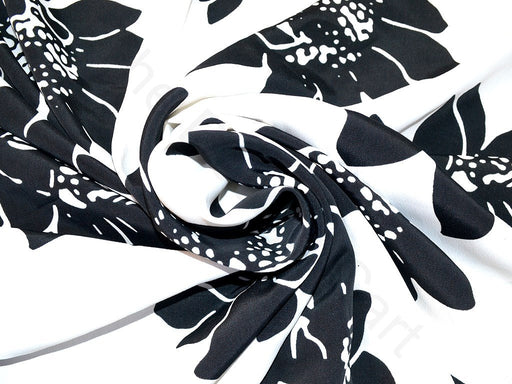 Black White Flower Design Polyester Crepe Fabric
