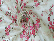 Pista Green Pink Flowers Embroidered Organza Fabric | The Design Cart