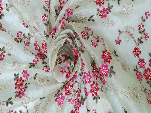 Pista Green Pink Flowers Embroidered Organza Fabric