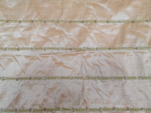 Peach Geometric Embroidered Banarasi Silk Fabric