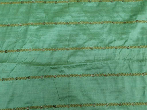 Pista Green Geometric Embroidered Banarasi Silk Fabric