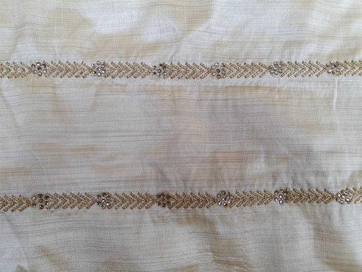 Fawn Brown Geometric Embroidered Banarasi Silk Fabric