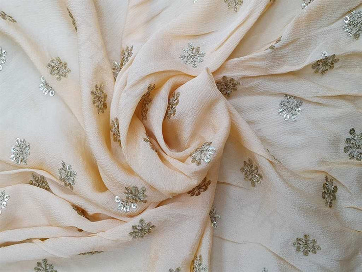 Peach Floral Embroidered Chinon Chiffon Fabric | The Design Cart