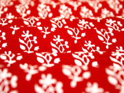 Red Flower Print Design Cotton Fabric | The Design Cart