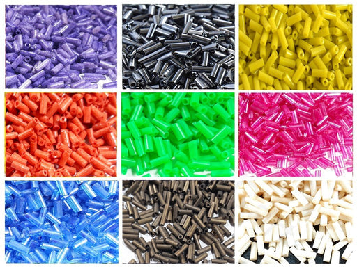 Assorted Opaque & Transparent Bugle / Pipe Beads Combo