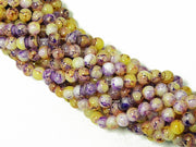 Yellow Purple Spherical Glass Pearls | The Design Cart