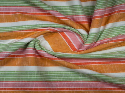 Green Orange Stripes Handloom Cotton Fabric