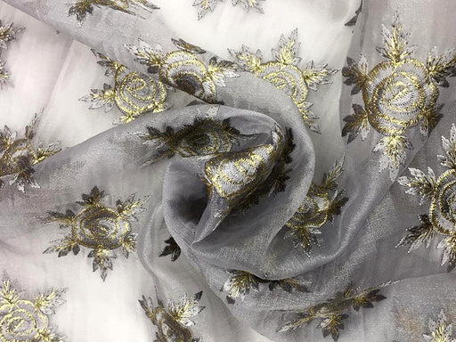 Gray Floral Organza Fabric