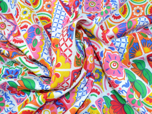 Multicolour Argyle Design Rayon Fabric