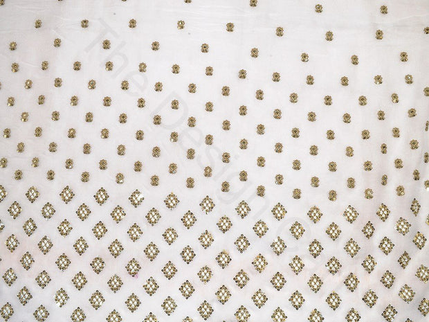 White Sequins Square Border Design Viscose Georgette Fabric