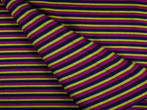 Purple Black Stripes Cotton Fabric