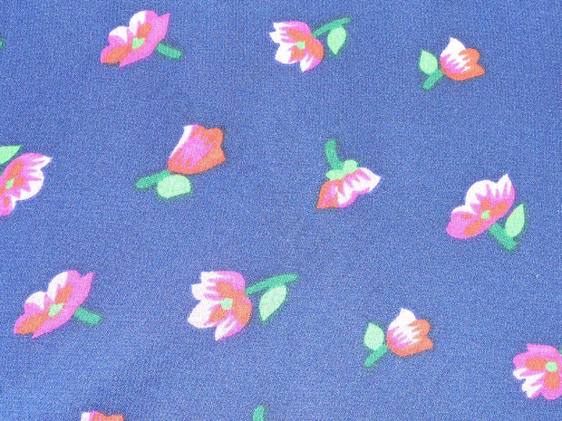 Navy Blue Floral Design Polyester Georgette Fabric