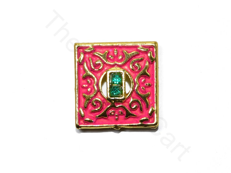 Dark Pink Square Shape Kundan Buttons | The Design Cart (1763878273058)