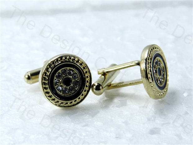 Round Black Circle Design Golden Metallic Cufflinks (1364873117730)
