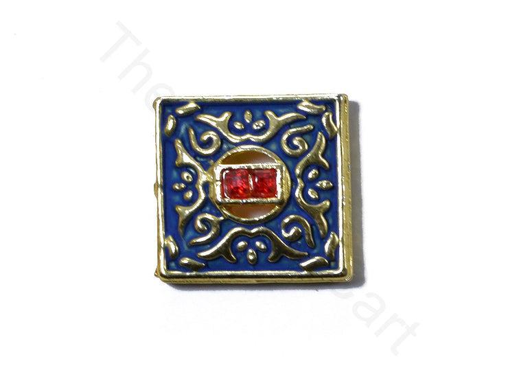 Blue Square Shape Kundan Buttons | The Design Cart (1763878567970)