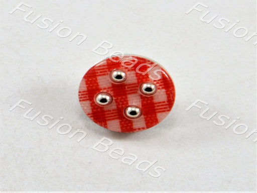 Small 15mm 24L Red White Cream Abstract Marbled 2 Hole Craft Buttons Button W494