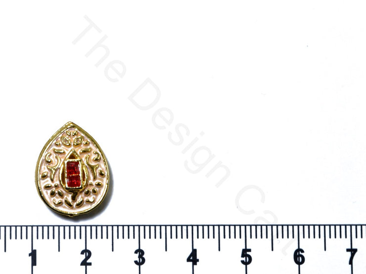 Peach Leaf Shape Kundan Buttons | The Design Cart (1763878666274)