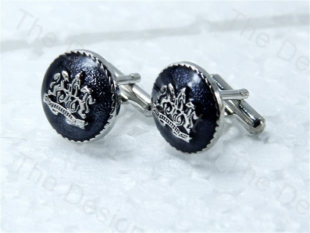Round Logo Design Silver Black Metallic Cufflinks (1364873379874)