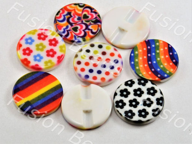 Assorted Pack Of Printed Acrylic Button - The Design Cart