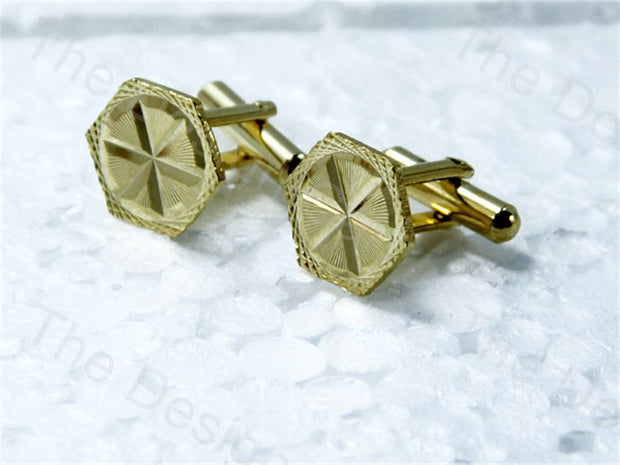 Hexagon Round Design Golden Metallic Cufflinks (1364873445410)