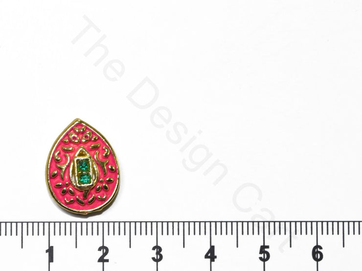 Dark Pink Leaf Shape Kundan Buttons | The Design Cart (1763879256098)